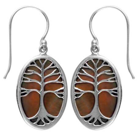 Tan Shell Tree of Life Earring