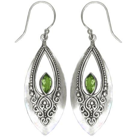 Mother of Pearl & Peridot Teardrop Earrings