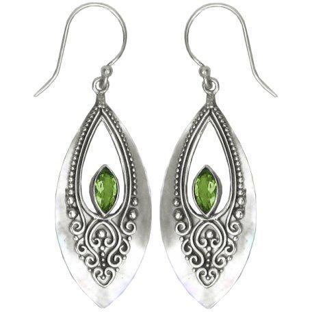 Mother of Pearl & Peridot Teardrop Earrings