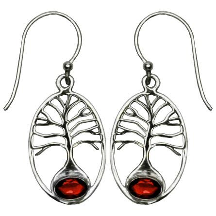 Tree of Life Garnet Earrings