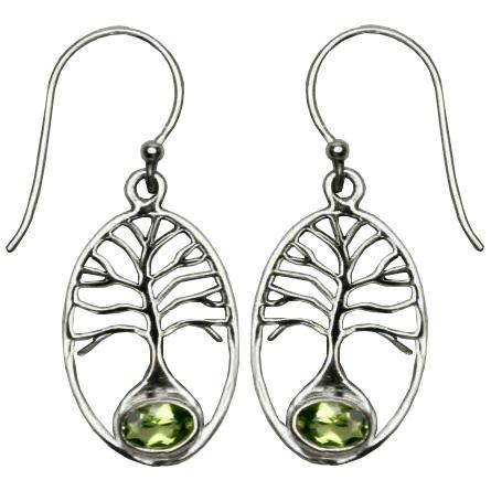 Tree of Life Peridot Earrings