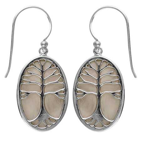 Mother Of Pearl Tree of Life Earring