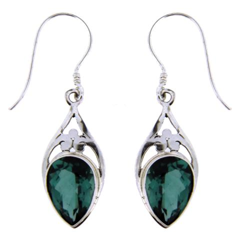 Green Quartz Silver Earring