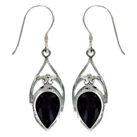 Black Onyx Silver Earring