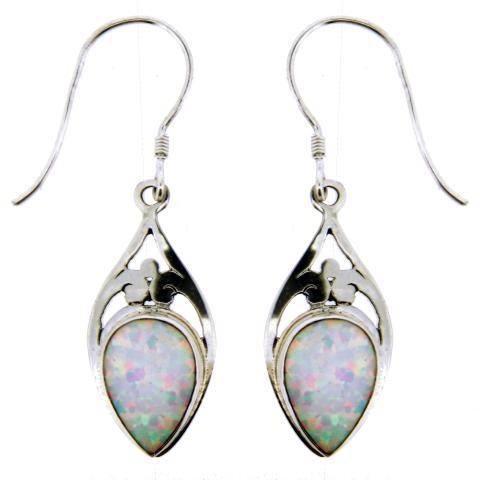 Cultured Opal Silver Earring