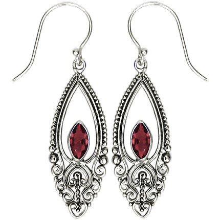 Garnet Scroll Earrings