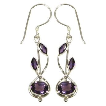 Stem Drop Amethyst Earrings