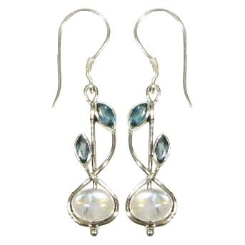 Stem Drop Blue Topaz & Blue Moonstone Earrings