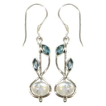 Stem Drop Blue Topaz & Blue Moonstone Earrings