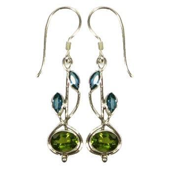 Stem Drop Blue Topaz & Peridot Earrings