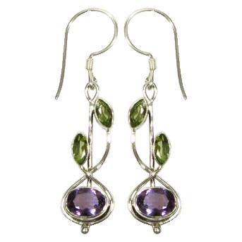 Stem Drop Amethyst & Peridot Earrings