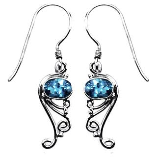 Blue Topaz Curl Earrings
