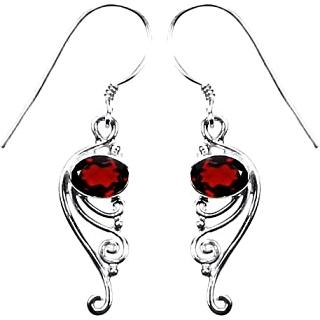 Garnet Curl Earrings