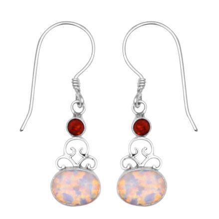 Garnet & Cultured (synthetic) Opal Earring