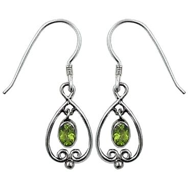Dangle Drop Peridot Earrings
