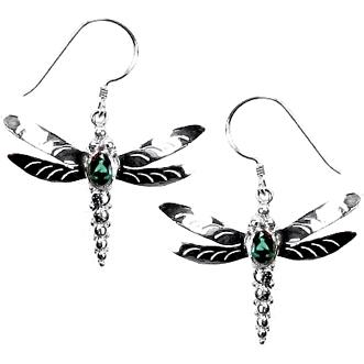 Dragonfly with Green Quartz Earrings