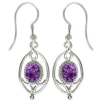 Flower Drop Amethyst Earrings