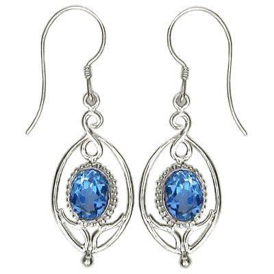 Flower Drop Blue Topaz Earrings