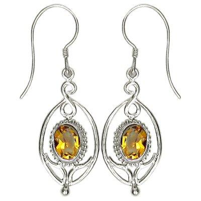 Flower Drop Citrine Earrings