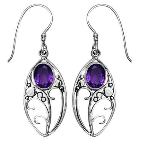 Amethyst Silver Oval Earring