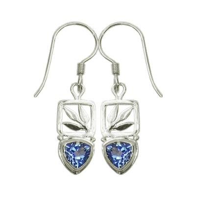 Small Blue Topaz Bamboo Leaf Drop Earrings