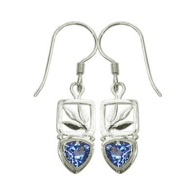 Small Blue Topaz Bamboo Leaf Drop Earrings