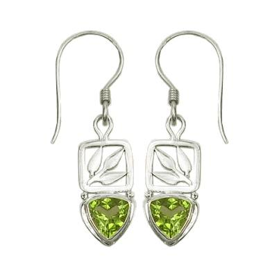 Small Peridot Bamboo Leaf Drop Earrings