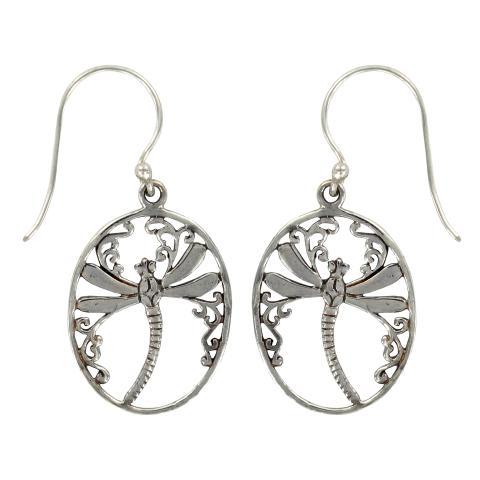 Vera Wolf Silver Drop Oval Earring