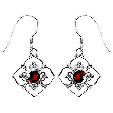 Flower Framed Garnet Earrings
