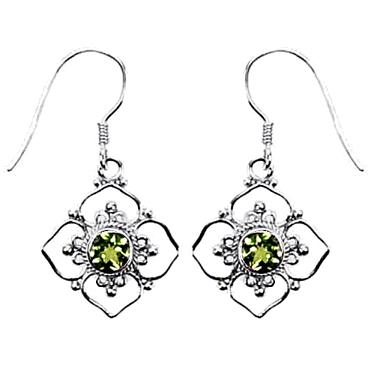 Flower Framed Peridot Earrings