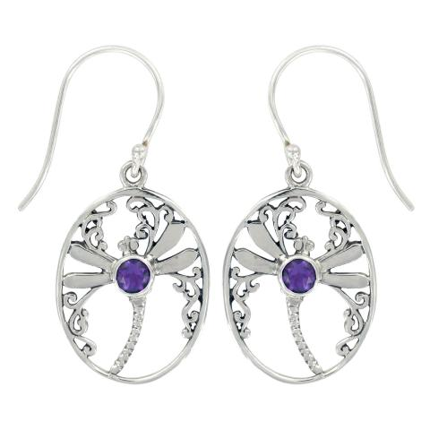 Oval Dragonfly Earring With Amethyst Stone