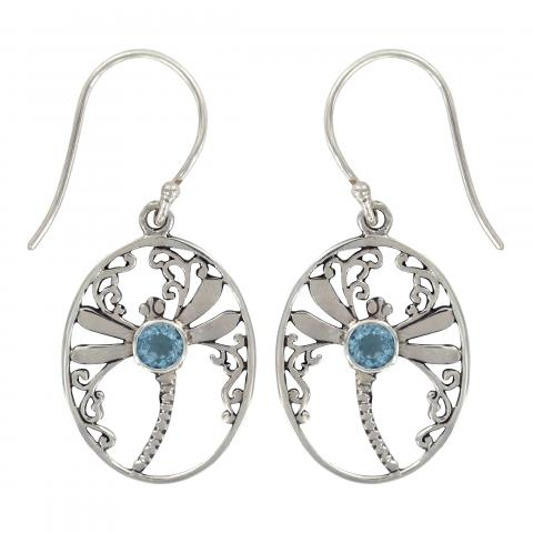 Dragonfly Oval Earrings with Blue Topaz