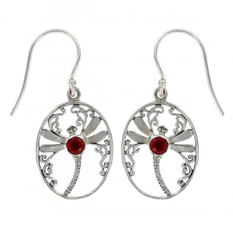 Dragonfly Oval Earrings with Garnet