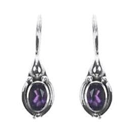 Solitaire Dangle Amethyst Earrings