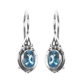 Solitaire Dangle Blue Topaz Earrings