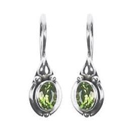Solitaire Dangle Peridot Earrings