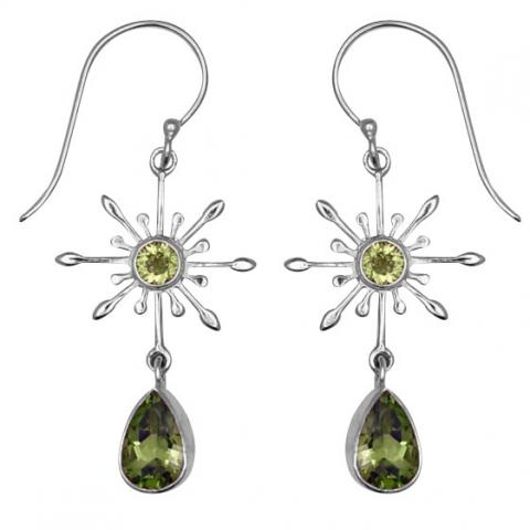 Peridot Dangle Silver Earrings