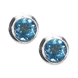 Round Blue Topaz Post Earrings