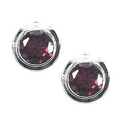 Round Garnet Post Earrings