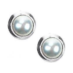 Round Pearl Post Earrings