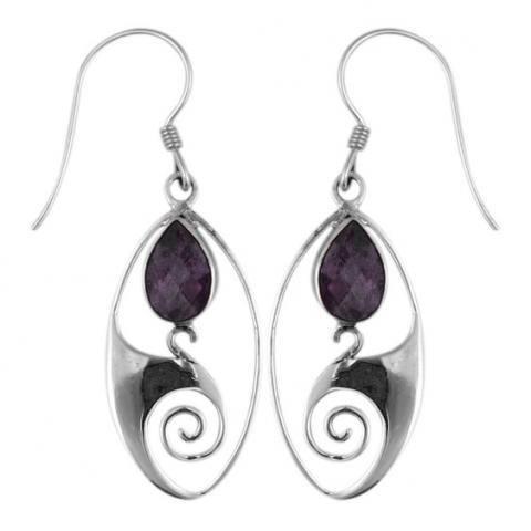 Amethyst Silver Dangle Earring