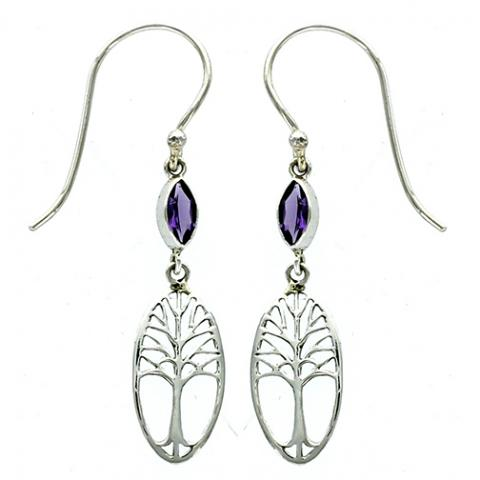 Marquise Amethyst Tree of Life Earring