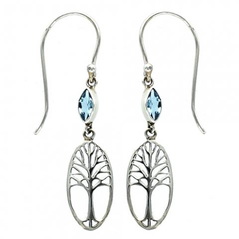 Marquise Blue Topaz Tree of Life Earring