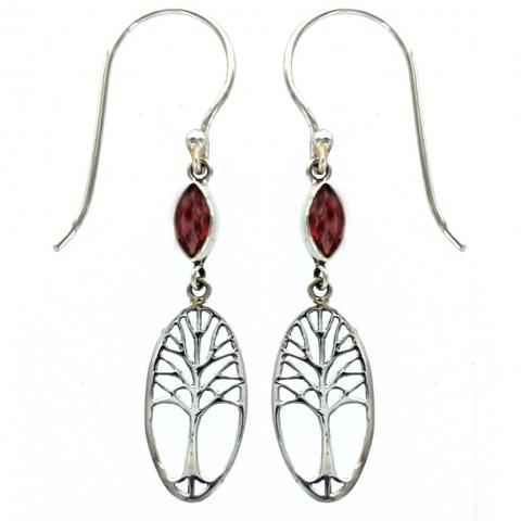 Marquise Garnet Tree of Life Earring