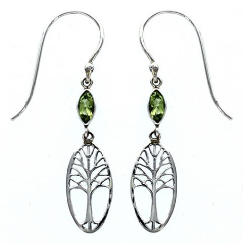 Marquise Peridot Tree of Life Earring