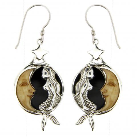 Bone Carved Face Tan Earring