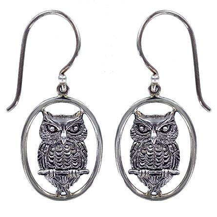 Silver Drop Owl Earring