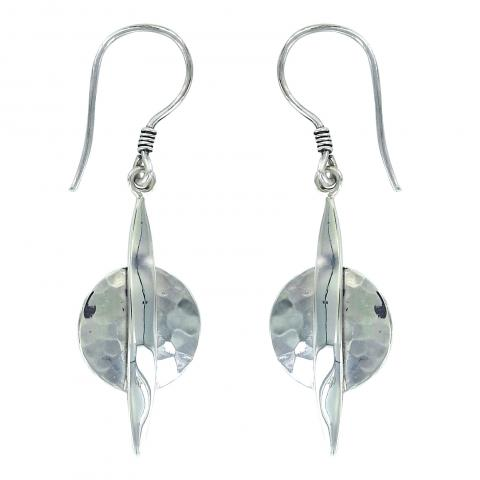 Vera Wolf Silver Round Drop Earring