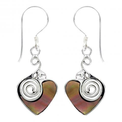 Vera Wolf Tan Mother Of Pearl Shell Earring