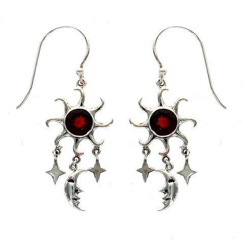 Garnet Silver Drop Earring